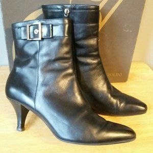 Enzo Angiolini Black Leather Ankle Booties